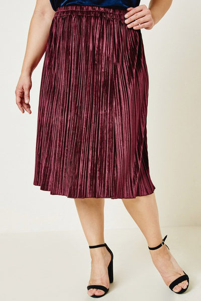 The Eva Pleated Velvet Skirt in Merlot