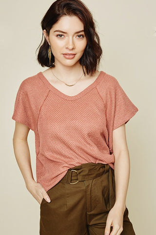 The Isabella Waffle Knit Top in Mauve