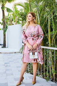 The Taylee Belted Midi Dress in Pink