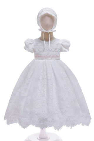 The Kenzie Dress with Pink Tie & Bonnet