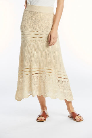 The Austen Crocheted Skirt in Oatmeal