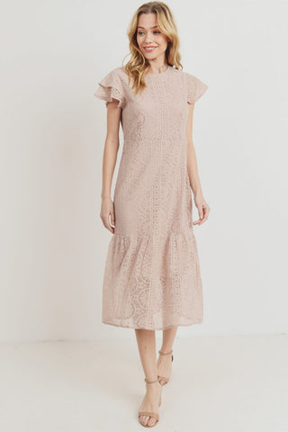 The Milan Lace Dress in Mauve