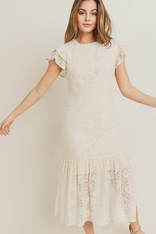 The Milan Lace Dress in Ivory