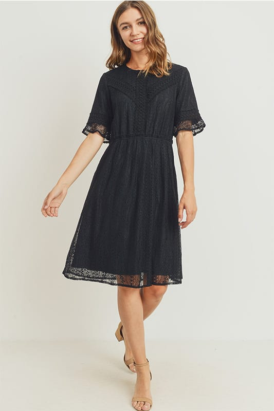 The Sylvie Lace Midi Dress in Black