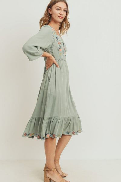 The Rae Embroidered Dress in Sage