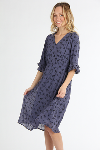 The Madison V-Neck Dress in Slate Blue