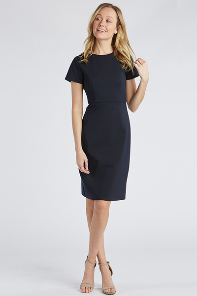 The Anne Slim Fit Midi Dress in Navy