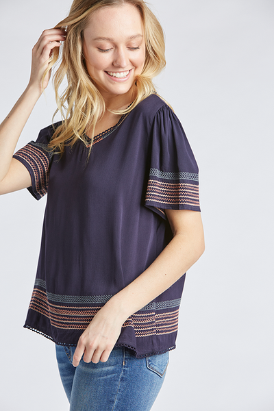 The Perry Embroidered Top in Navy