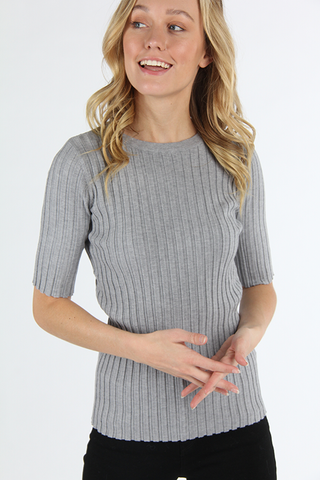 The Mika Ribbed Top in Heather Gray