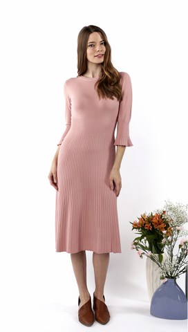 The Amie Pleated Sweater Dress in Blush