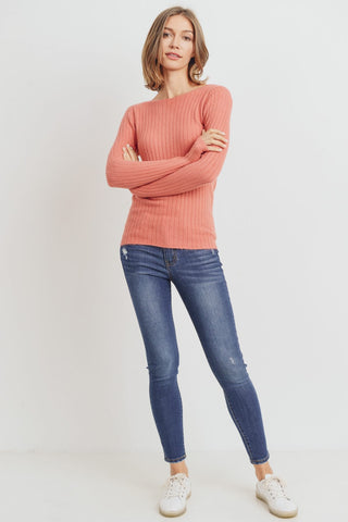 The Raquel Plush Ribbed Top in Salmon