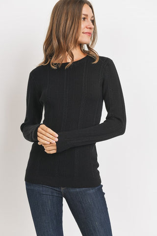 The Serenity Ribbed Sweater in Black