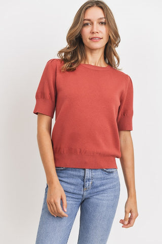 The Maple Knit Sweater Top in Brick