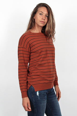 The Ginger Stripe Sweater in Rust