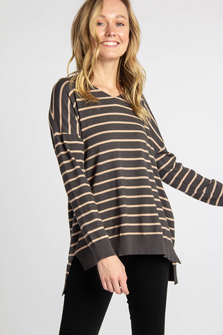 The Autumn Stripe Sweater in Dark Green
