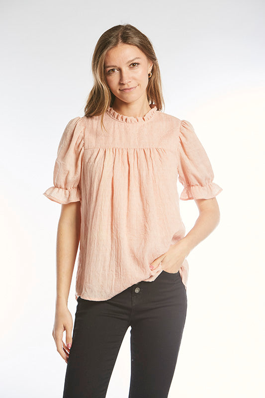 The Kelty Ruffle Top in Peach