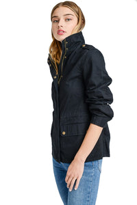 The Paige Utility Anorak Jacket in Black