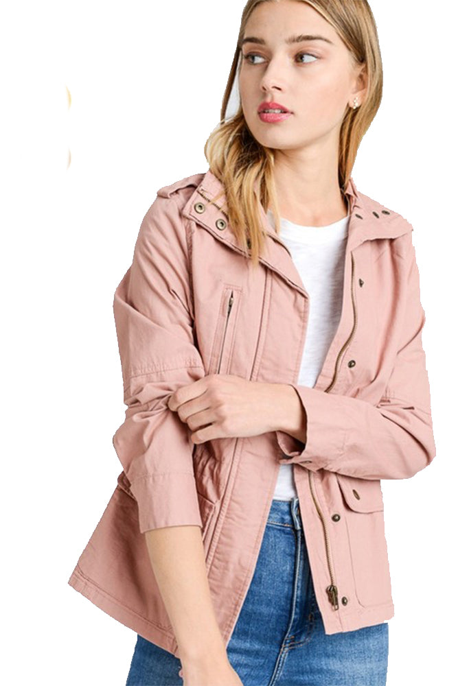 The Paige Utility Anorak Jacket in Mauve
