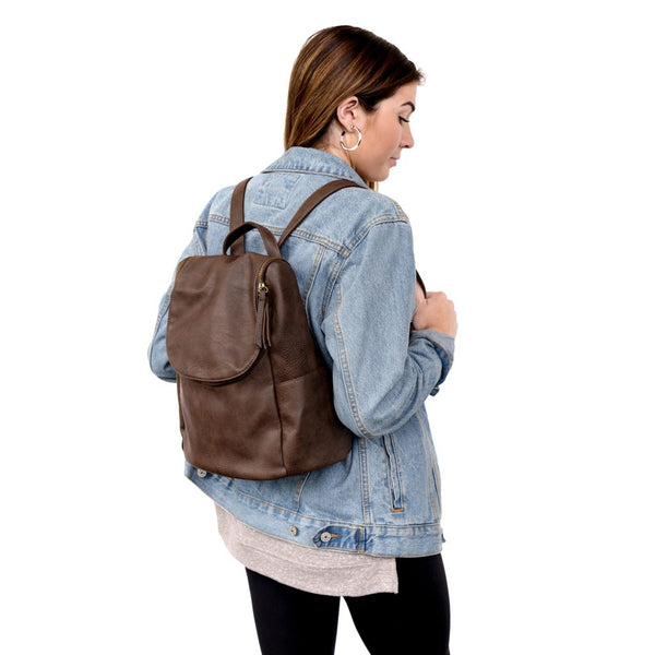 The Kerri Side Pocket Backpack in Chocolate