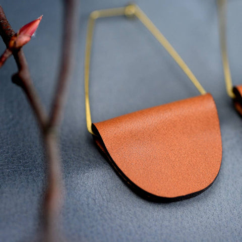 Brown Leather Tab Earrings