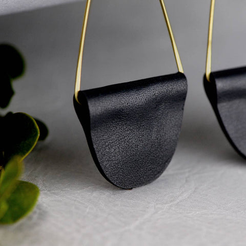 Black Leather Tab Earrings