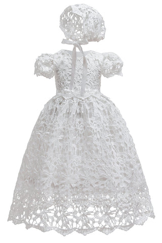 The Opal Vintage Lace Dress & Bonnet