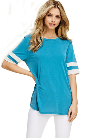 The Stevie Varsity Striped Top in Teal