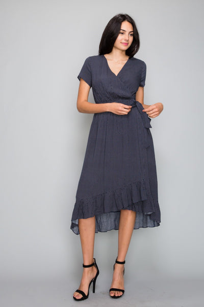 The Shelby Polka Dot Overlap Dress in Navy
