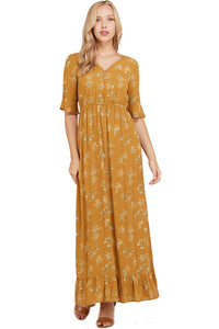 The Oakley Ruffle Sleeve Floral Print Dress in Camel