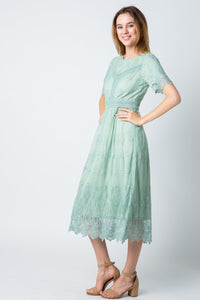 The Mel Lace Dress in Sage