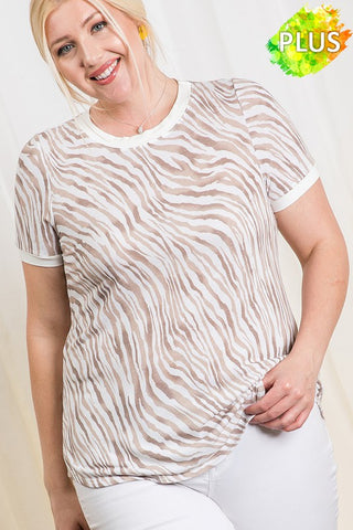 The Evelyn Zebra Print Top in Ivory/Taupe