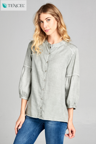 The Iris Button Up Top in French Gray
