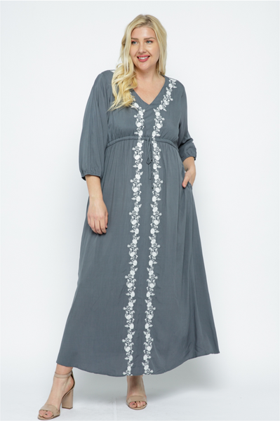 The Dante Embroidered Dress in Slate Curvy