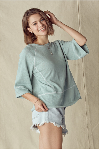 The Layla Contrast Stitched Top in Sage