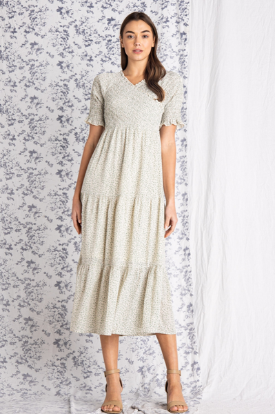 The Breeze Smocked Midi Dress in Ivory