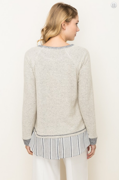 The Janey Shirt Tail Pullover in Cream