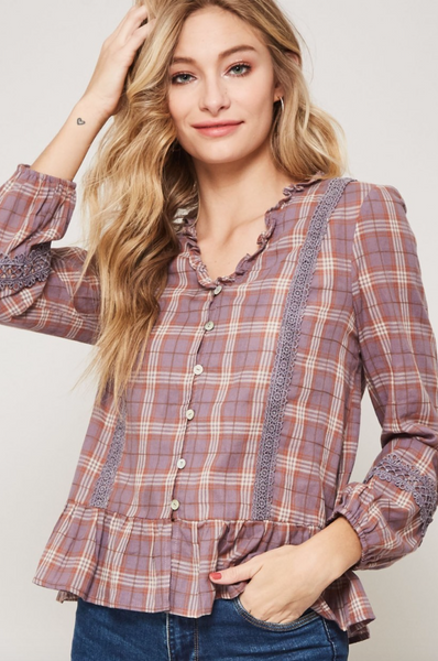 The Lexia Plaid Woven Blouse in Mauve