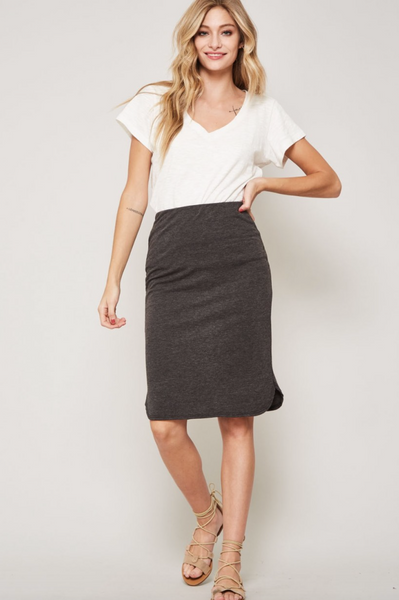 The Lyndi Knit Skirt in Charcoal
