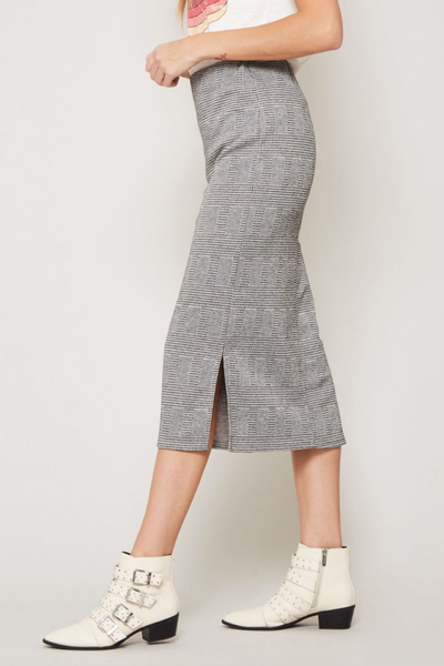 The Scarlett Plaid Knit Skirt in Black/White