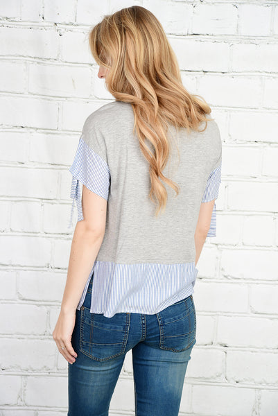The Ainsley Tie Sleeve Top in Gray