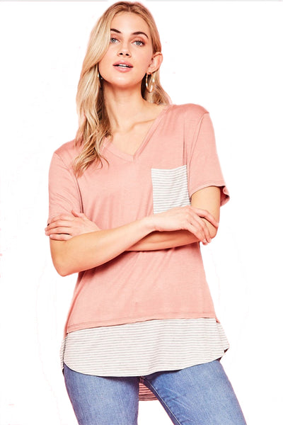 The Colette Striped Contrast Top in Mauve