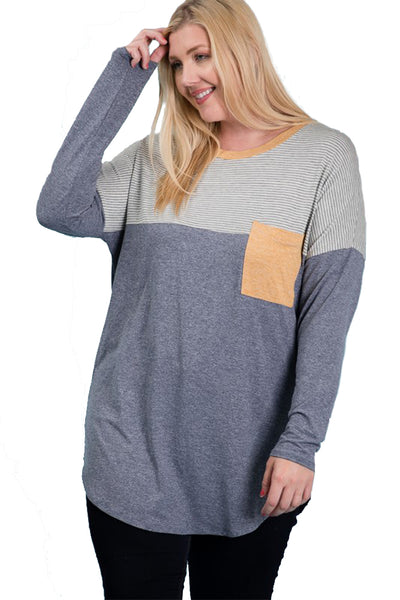 The June Contrast Pocket Tunic in Navy