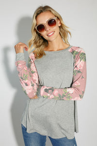 The Avery Long Sleeve Contrast Top in Gray