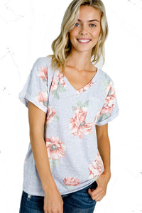 The Calista Short Sleeve Floral V-Neck in Periwinkle