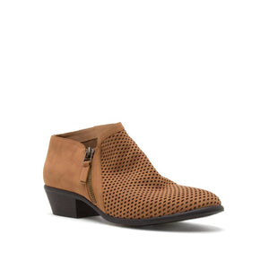 The Taryn Perforated Bootie in Camel