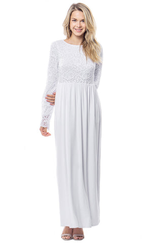 The Ellie Lace Temple Dress in White