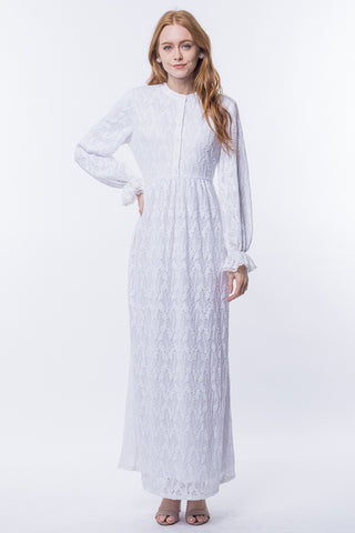 The Quincy Lace Dress in White