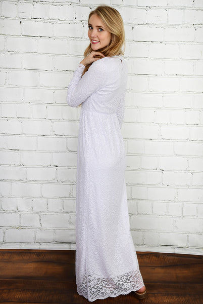 The Emma Lace Temple Dress in White