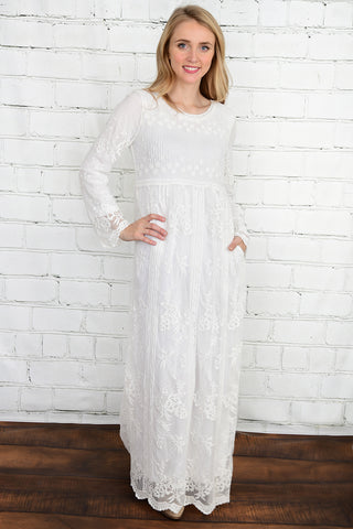 The Audrey Lace Temple Dress with Pockets