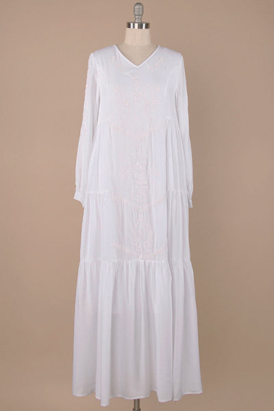 The Naomi Embroidered Maxi in White